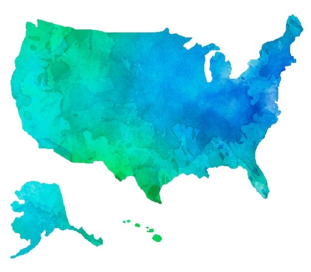 États-unis d'amérique isolés colorés à l'aquarelle