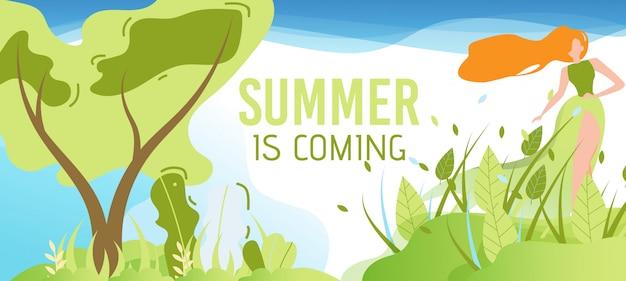 L'été arrive saluant bannière plate