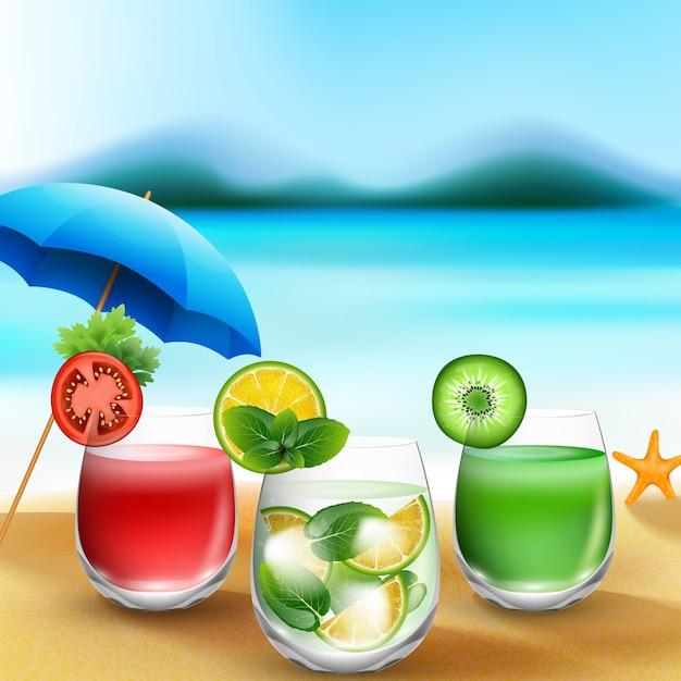 L'été boit dans le sable sur fond de plage floue