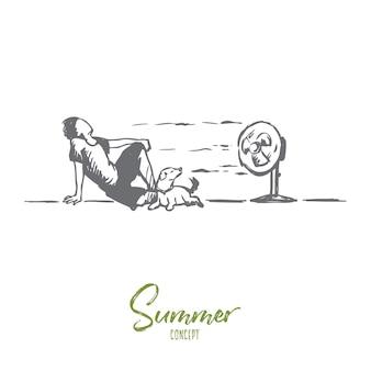 Été, chaud, homme, concept de chien. homme dessiné à la main portant sur le sol avec un chien et profiter du vent froid de l'esquisse de concept de ventilateur électrique.