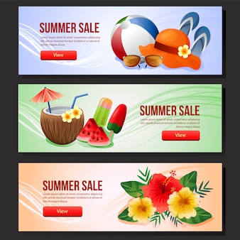 Été coloré vente bannière modèle web été boisson illustration vectorielle