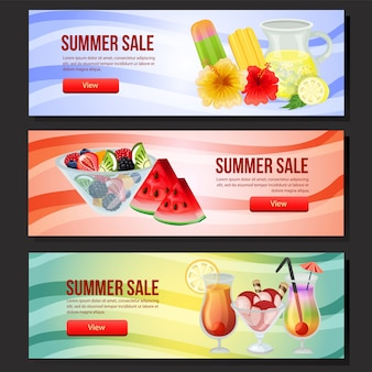 Été coloré vente bannière web trois avec illustration vectorielle rafraîchissement