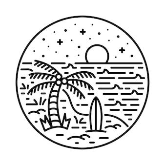 Été avec la conception de t-shirt d'art d'illustration graphique de ligne de nature de bonne vue