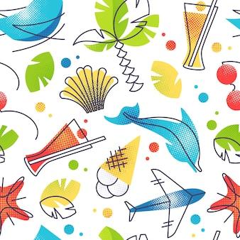 Été de couleur vive et modèle sans couture de vacances à la plage tropicale