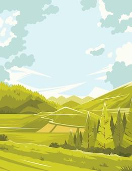 L'été dans la forêt. une chaude journée d'été. paysage d'une forêt d'été. un beau paysage un jour de printemps. image colorée lumineuse. espaces ouverts de la nature. illustration vectorielle. eps 10