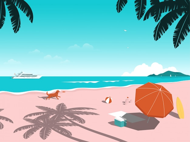 L'été ensoleillé arrive à la plage