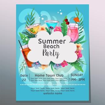 Été, fête, fête, mer, vague, fond, cocktail tropical, illustration