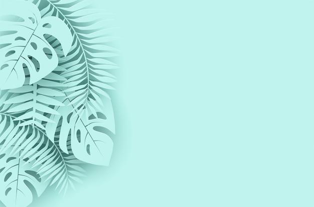 Été, fond de vacances tropicales. concevoir avec des feuilles tropicales. style d'art de papier.