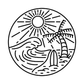 Été avec la grande vague et la conception de t-shirt d'art d'illustration graphique de ligne de planche de surf