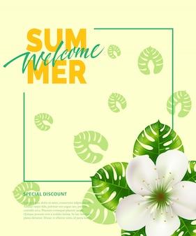 Été, inscription bienvenue dans le cadre avec fleur. offre d'été ou publicité de vente