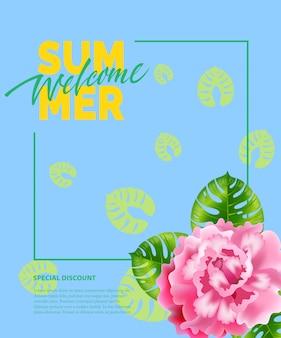 Été, inscription bienvenue dans le cadre avec pivoine. offre d'été ou publicité de vente