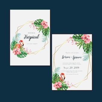 Été d'invitation carte tropicale avec plantes feuillage exotiques, aquarelle créative