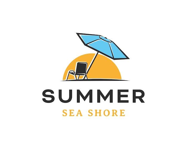 L'été sur le logo de la plage. modèle de conception de logo de chaises de plage et de parasols