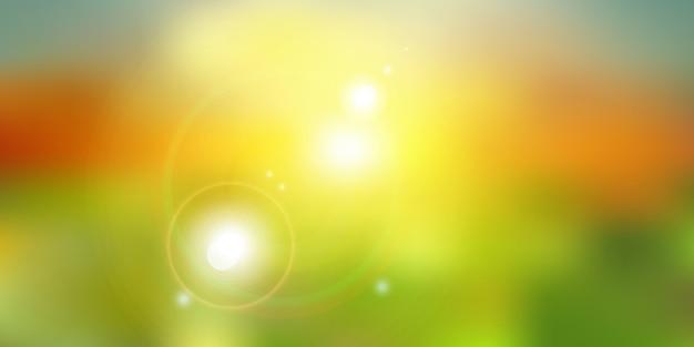 Été ou lumière du soleil sur fond de nature verdoyante