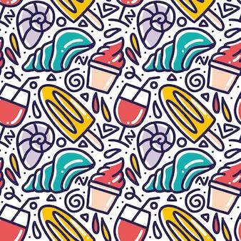 Été de menu de modèle de doodle dessiné main sur la plage avec des icônes et des éléments de conception