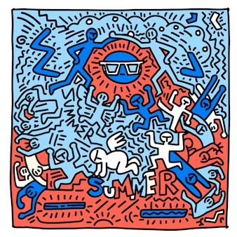Été plage dessinés à la main des gens et des objets drôles, illustration de doodle dessinés à la main