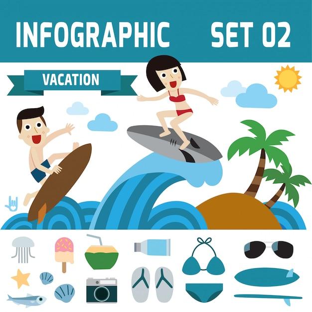 Été sur la plage infographique
