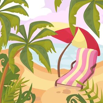 L'été sur la plage. palmiers et plantes autour. illustration vectorielle de dessin animé. vacances d'été sur la côte de la mer