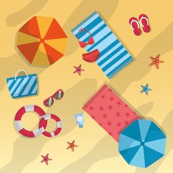 Été plage parapluie serviettes lunettes de soleil sac étoile de mer maillot de bain bouée de sauvetage