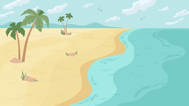 Été plage paysage panorama plat dessin animé fond vecteur paradis océan ou mer eau de mer