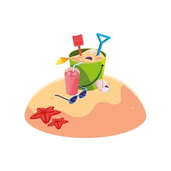 Été plage de sable avec scène de jouet seau de sable