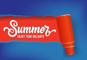 Été, profitez de votre bannière saisonnière de vacances en couleurs rouge et bleu