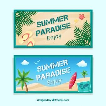 D'été et de surf des bannières
