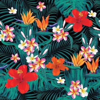 Été tropical modèle sans couture avec frangipanier