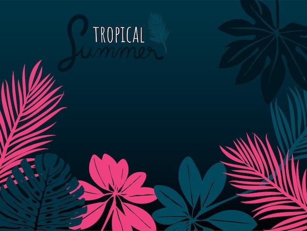 Été tropical rose et bleu laisse sur fond bleu foncé