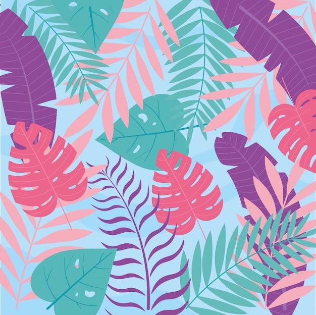 Été, vacances, monstera, paume, feuilles, feuillage, botanique, fond, illustration