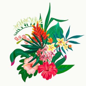 Été vecteur feuilles composition de fleurs