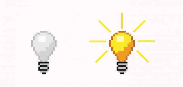 Éteint et allume l'ampoule de pixel. lampe lumineuse sans énergie orange et blanche.