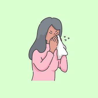 Éternuements, girl, malade, gens, dessin animé, illustration, concept