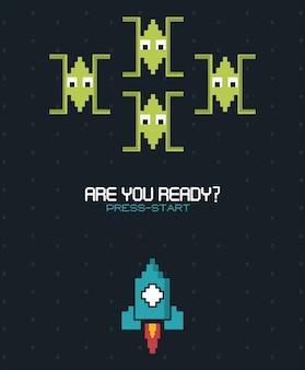 Êtes-vous prêt appuyez sur démarrer avec des graphismes de jeu spatial