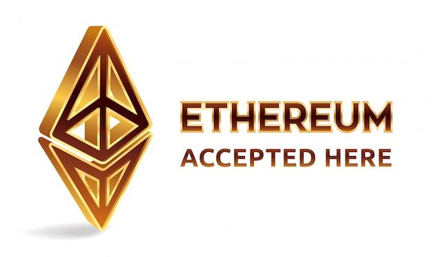 Ethereum accepté ici, bannière. crypto-monnaie.