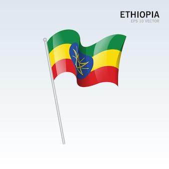 Ethiopie, brandissant le drapeau, isolé, sur, gris