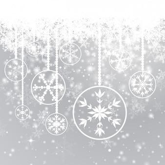 Étincelante de fond avec des flocons de neige et babioles