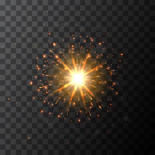 Étincelle éclatée en étoile avec effet lumineux