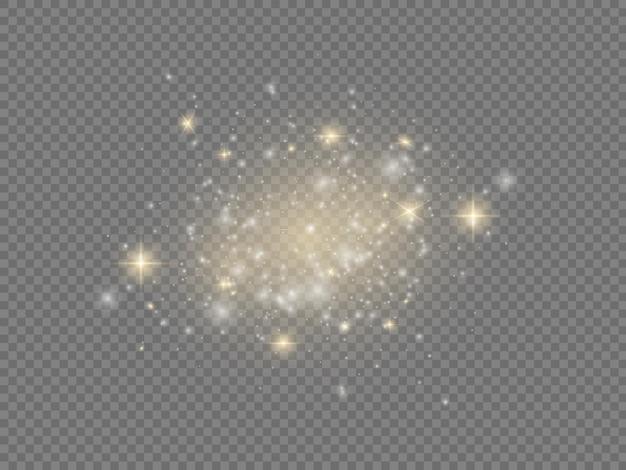 Des étincelles blanches brillent des étoiles de noël effet de lumière scintillant des particules de poussière magiques scintillantes scintillent