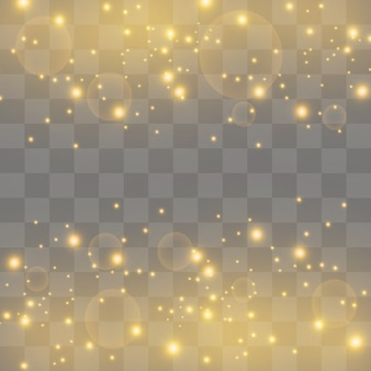 Des étincelles blanches et des étoiles dorées brillent avec un effet de lumière spécial. particules étincelantes de poussière de fée. brille sur un fond transparent. modèle abstrait de noël