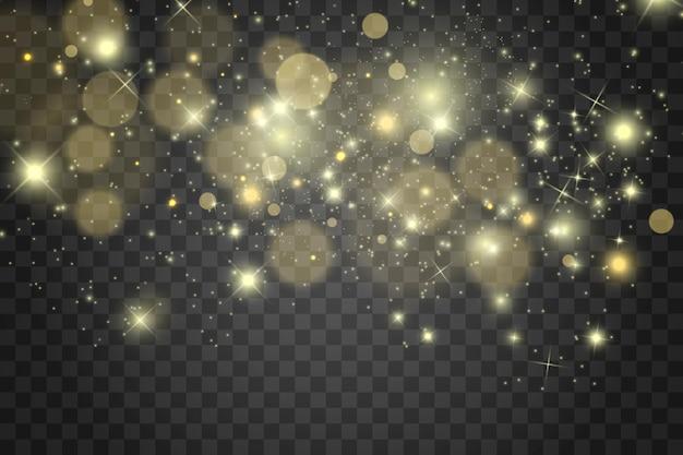 Des étincelles blanches et des étoiles dorées scintillent un effet de lumière spécial sur fond transparent.