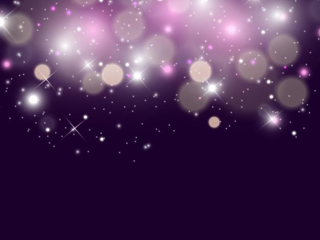 Des étincelles blanches et des étoiles dorées scintillent un effet de lumière spécial. particules de poussière magiques scintillantes