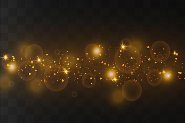 Des étincelles blanches et des étoiles dorées scintillent d'un effet de lumière spécial