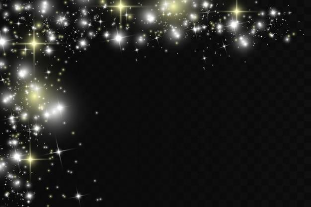 Des étincelles blanches et des étoiles dorées scintillent avec un effet lumineux spécial.