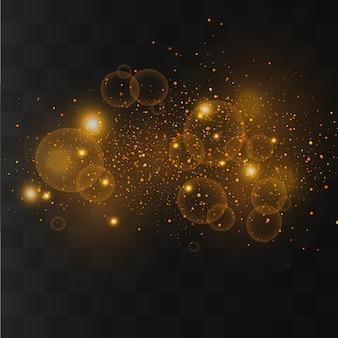 Étincelles blanches, étoiles dorées scintillent, lumière, poussière de particules