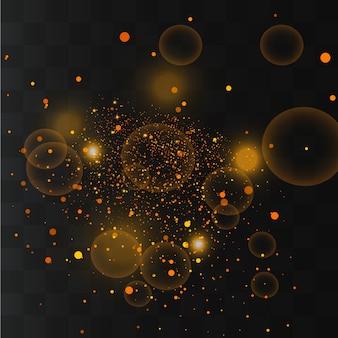 Étincelles blanches et étoiles dorées.