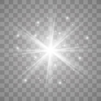 Étincelles blanches étoiles scintillent effet lumineux spécial. scintille sur fond transparent. particules de poussière magique étincelante