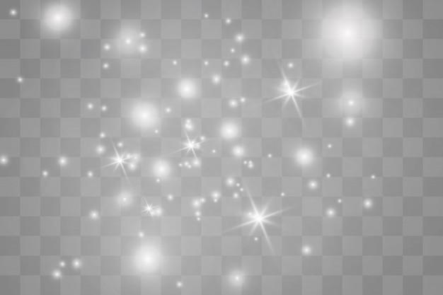 Étincelles blanches de noël scintillent effet de lumière spécial.