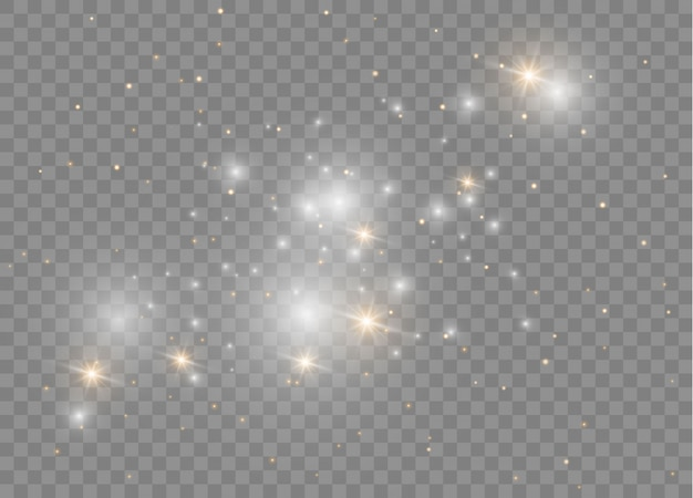 Des étincelles blanches scintillent d'un effet de lumière spécial. particules de poussière magique étincelante.