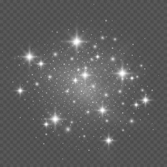 Étincelles blanches sur transparent